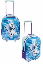 Disney 3d Frozen Olaf Girls Holiday Travel Trolley Wheeled School Luggage Bag