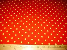 """Red With Bright Yellow Polka Dot 2 Way Stretch Poly Lycra Fabric 58"""" W BTY"""