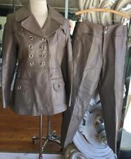 Vintage 1970s - 1980s Taupe Leather Woman's Pant Suit