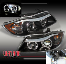 06 07 08 BMW E90 3-SERIES HALO PROJECTOR HEADLIGHTS LAMPS BLACK 323I 325I 325XI