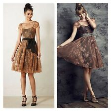 RARE! Anthropologie Moulinette Soeurs Honeyed Lace Dress rose gold sheer sz 6