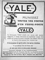 PUBLICITÉ DE PRESSE 1922 YALE MUNISSEZ VOS PORTES D'UN FERME-PORTE YALE