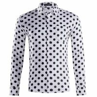 Men's Long Sleeve Shirts Polka Dot Shirt Casual Formal Regular Shirt Top XS-XXL