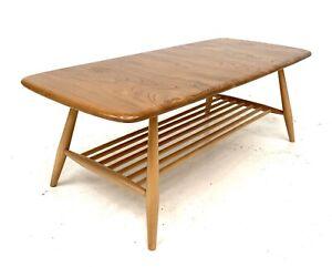 VINTAGE RETRO ERCOL BLONDE COFFEE TABLE MAGAZINE RACK 1960s ELM BEECH Model 459