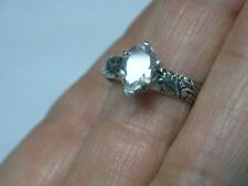NATURAL 1ct white pear topaz antique 925 sterling silver ring size 8.5 USA