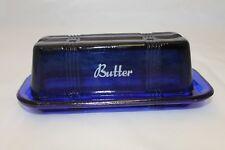New Cobalt Blue Butter Dish Printed Depression Glass Retro Style Design