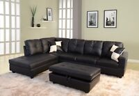 LifeStyle Furniture 3PC Sectional Sofa Set with Free Ottoman,2 Pillows(Black)