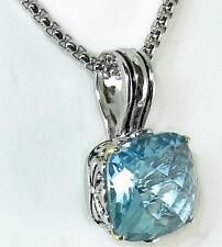 Balinese Designer Aquamarine CZ Filigree Silver Gold 18KGP Pendant Necklace