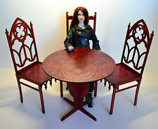Table & 3 chairs Gothic Furniture for dolls 1:4 18 in Tonner BJD color red wood