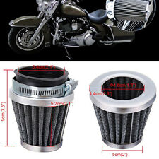 2 Pcs 54mm Motorcycle Universal Tapered Chrome Pod Air Filters Clean Hose Clamp