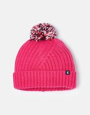 Joules Girls Bobble Cross Over Knitted Hat - Truly Pink