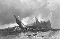 Mediterranean Sea ROCK OF GIBRALTAR Boat Waves Storm Castle, Art Print Engraving
