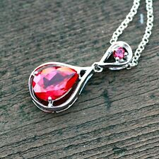 Created Ruby Pendant Sterling Silver 925 , July Birthstone , 40th Anniversary