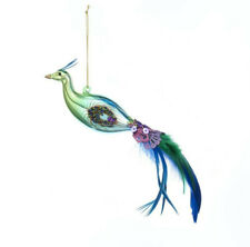 "9"" Green Peacock Bird Christmas Glass Ornament Tree Decor by Kurt Adler"