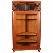 Antique R. J. Horner School Deeply Carved Stick & Ball Oak Corner China Cabinet