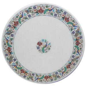 "23"" White Marble top Table Pietra dura semi precious stone art Inlay Work"