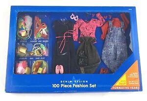 New Playskool Denim Design Fashion Doll 3 Outfits 100 Pc Accessories  VTG 1994