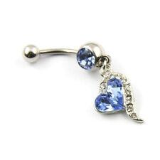 H3 1pcs Blaue Diamanten eingelegten Silber Bauchnabel Ring-Krper-Piercing
