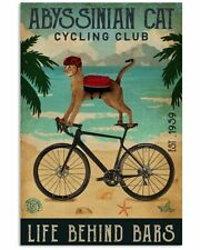 Cycling Club Abyssinian Cat Poster Art Print Home Wall Decor 11x17 16x24 24x36