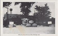 South Dakota SD Postcard Old MOBRDGE Milwaukee Park Cannon Balls