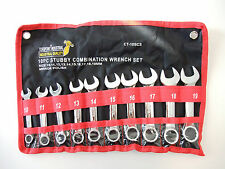 10 pcs stubby short combination spanner wrench set 10-19mm , Canvas pouch 10 12