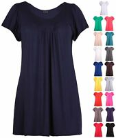 Womens Plus Size Shaped Neck Ladies Stretch Short Sleeve Gather Long T-Shirt Top
