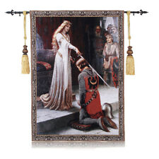 "Medieval Knight Accolade Jacquard Woven Fine Art Tapestry Wall Hanging 39"" X 55"""