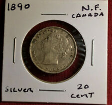 1890 Newfoundland (Canada) 20 Cent Silver Coin, Nice Lightly Circulated Coin