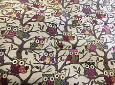 Owls fabric curtain/upholstery HEAVY COTTON material lovely 2mtrs fab
