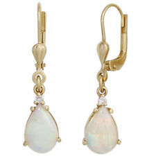 Ohrhänger Tropfen 2 Opale 2 Diamanten 585 Gold Gelbgold Boutons Ohrringe 42405