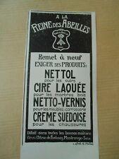 Publicité 1925  A la reine des Abeilles Cire laquée Netto vernis creme suedoise