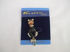 Cat Brooch Amber Colour Glass Stone Head, Black Cut Stone Body, Crystal Stones