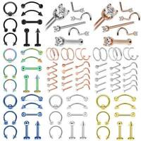 21PCS Nose Ring Set Surgical Steel Bar Lip Ear Eyebrow Studs Piercing 16/20g