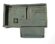 Ballistic Nylon Billfold Wallet with Coin Pocket- Gray- Made in USA
