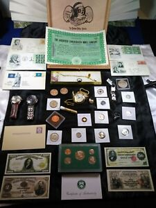 Junk drawer lot Stamps Coins Silver Gold JKF Jewelry Watches Lot FBB