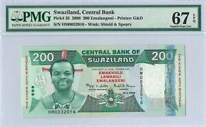 Swaziland 200 Emalangeni P35 2008 PMG 67 EPQ s/n HM0032016 Hybrid