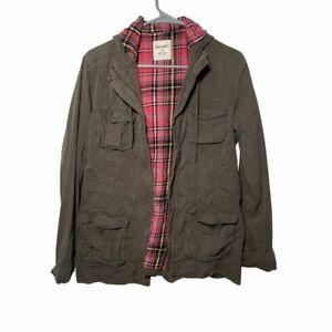 Old Navy Women's Green Plaid Utility Jacket Hooded Medium