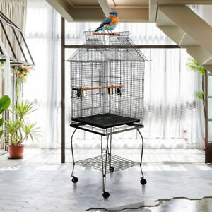 Large Open Top Moving Bird Parrot Cage Canary Cockatiel Budgie Play Activity UK