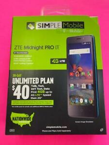 ZTE Midnight Pro LTE  - 4G LTE - 8GB -  Black - (Simple Mobile) Brand New Sealed
