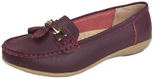 Womens Leather Driving Comfort Shoes Moccasins Cushioned Loafers Ladies Size