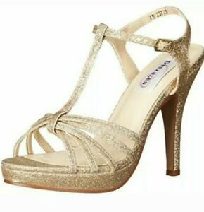 Dyeables Women's Kaylee Champagne Glitter Ankle Strap Heels Size 5.5 (124508)