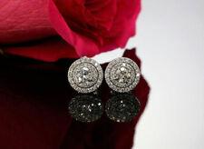 Sparkling 3.50 ct VS1 Off White Moissanite Halllo Earrings 925 Sterling Silver 0