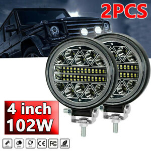 2x 4inch LED Work Lights 102W Round Pods SPOT Offroad Truck SUV Fog Driving 12V