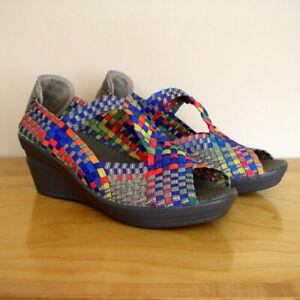 Bernie Mev Womens Rainbow Comfort Shoe Woven Open Toe T-Strap Wedge Heel 41 10