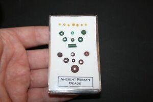Roman Empire assorted genuine roman jewellery beads in display case LGE