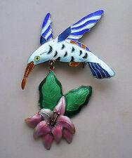 Sterling Silver Cloisonne Enamel Hummingbird Dangle Flower Pin Brooch 10.3 gr.