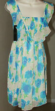 NEW SIZE X-SML BEIGE-AQUA FLORAL FLUTTER STRAPS STRETCHY TOP SHEER CHIFFON DRESS