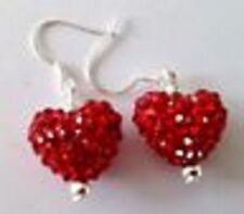 HANDMADE CRYSTALS  RED  HEART DROP EARRINGS WITH 14mm  CZECH CRYSTAL HEART BEADS
