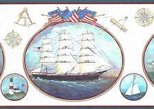 SAIL BOAT SHIPS SCHOONER LIGHTHOUSE PATRIOT STARS & STRIPS Wallpaper bordeR Wall