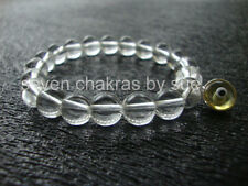 Feng Shui - 8mm Clear Quartz + Yellow Sterling Silver Evil Eye